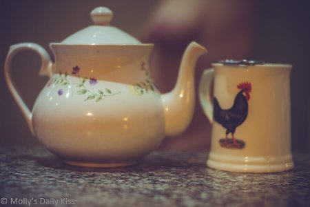 A teapot and teacup with tits in the background for low tea