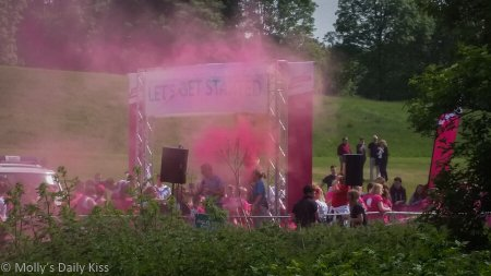 Starting line for the race for life, and I am proud of her