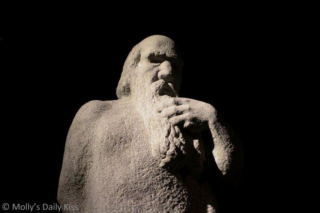 Stone statue for hero post