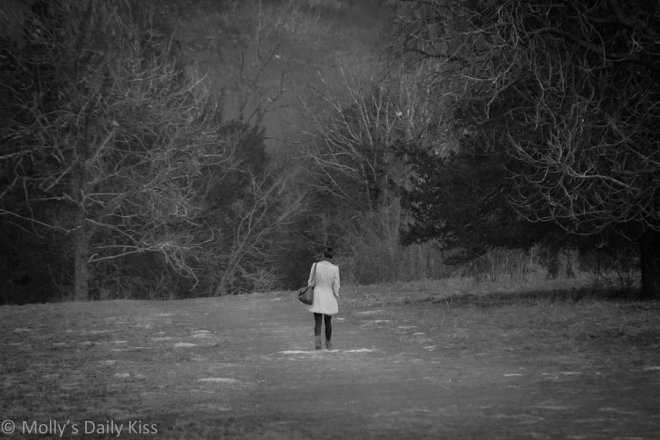 A woman walking alone for lonely