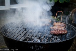 Burgers on the grille for the 4th of July