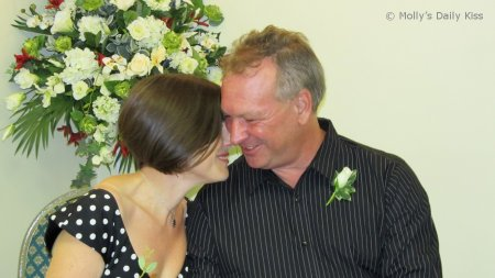 Us kissing at our wedding, time flies