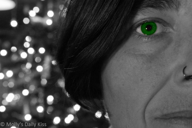 Molly with one green eye for fuck