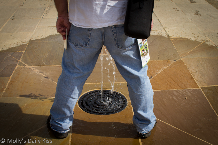 Me standing over a fountain for Identity