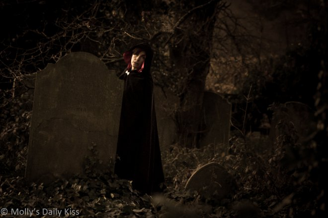 molly in a graveyard for haunting