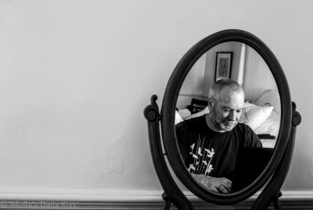 My reflection in an oval mirror for Introspection